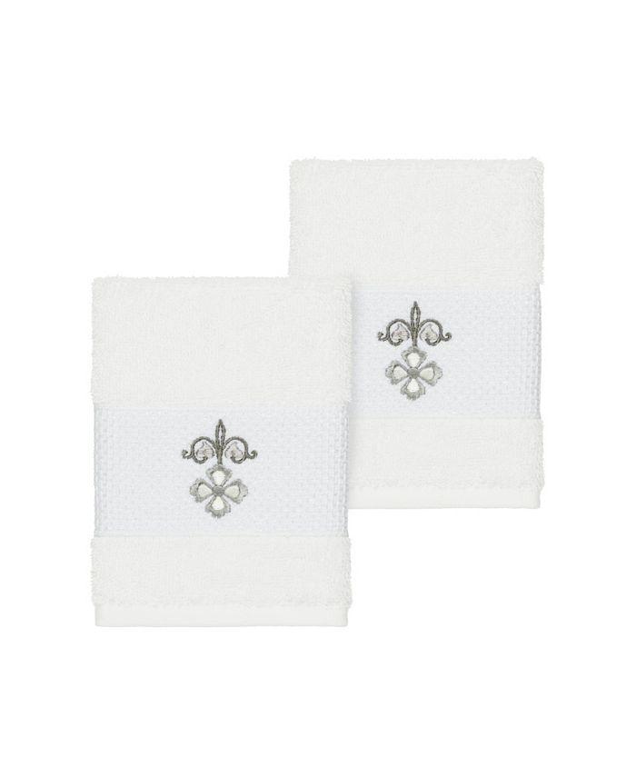 Linum Home - Quinn 2-Pc. Embroidered Turkish Cotton Washcloth Set