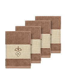 Linum Home Quinn 4-Pc. Embroidered Turkish Cotton Washcloth Set