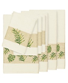 Linum Home Zoe 8-Pc. Embroidered Turkish Cotton Bath and Hand Towel Set