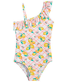 Summer Crush Big Girls 1-Pc. Citrus-Print Ruffle Swimsuit
