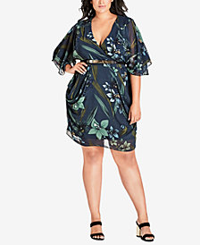 City Chic Plus Size Moody Floral Wrap Dress