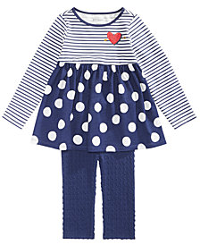 First Impressions Baby Girls Striped & Dot-Print Tunic & Leggings Separates, Created for Macy's