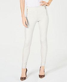 I.N.C. Petite Moto Seam Ponte Skinny Pants, Created for Macy's