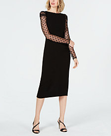 Rachel Zoe Mesh-Sleeve Midi Dress