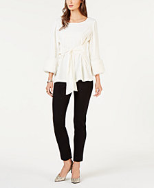 Alfani Faux-Fur-Cuff Tie-Front Blouse & Pull-On Faux-Leather-Trim Skinny Pants, Created for Macy's