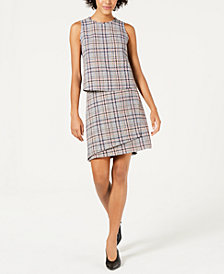 Bar III Sleeveless Tweed Shell & Asymmetrical Skirt, Created for Macy's