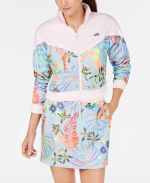 Sportswear Ultra-Femme Printed Cropped Track Jacket in Arctic Pink