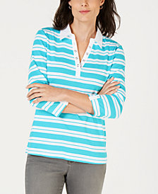 Karen Scott Striped Split-Neck Grommet-Trim Top, Created for Macy's