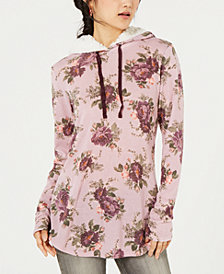 Ultra Flirt By Ikeddi Juniors' Printed Faux Sherpa-Trimmed Hoodie
