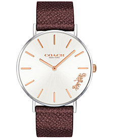 COACH Women's Perry Cherry Metallic Leather Strap Watch 36mm, Created for Macy's