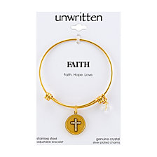 "Unwritten Yellow Gold Tone ""Faith Hope Love"" Crystal Cross Charm Bangle Bracelet, 8"" Length, 2.25"" Diameter"
