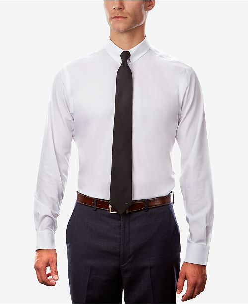 b0476fa6a ... Tommy Hilfiger Men's Fitted TH Flex Cooling Stretch Performance White  Dress Shirt ...