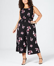Eyeshadow Trendy Plus Size Floral-Print Knit Cropped Jumpsuit