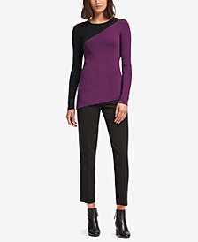 DKNY Asymmetrical Colorblocked Sweater, Created for Macy's
