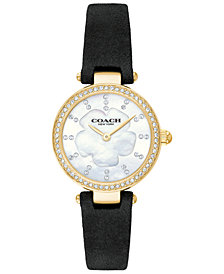 COACH Women's Park Black Leather Strap Watch 26mm