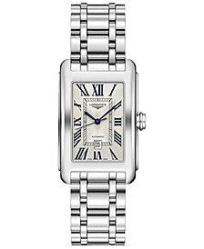 Longines Women's Swiss Automatic DolceVita Stainless Steel Bracelet Watch 27.7x43.8mm