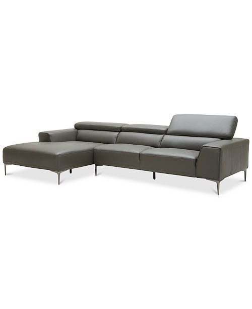 Furniture Mossley 127 2 Piece Leather Reversible Chaise Sectional