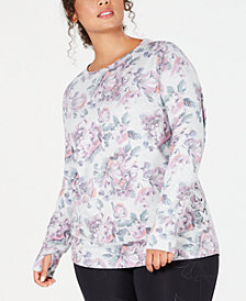 Ideology Plus Size Floral-Print Lace-Up Top, Created for Macy's