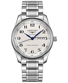 Men's Swiss Automatic Master Stainless Steel Bracelet Watch 40mm
