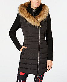 Calvin Klein Performance Sweater-Sleeve Faux-Fur Hooded Walker Jacket