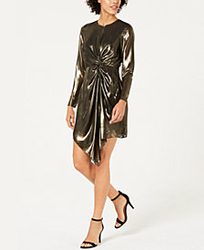Lucy Paris Cara Twist-Front Metallic Dress