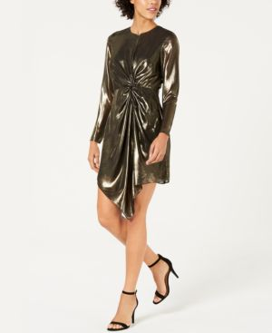 LUCY PARIS Cara Twist-Front Metallic Dress in Gold