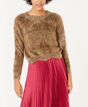 LUCY PARIS Lola Metallic Eyelash Sweater in Gold