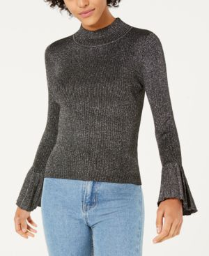 LUCY PARIS Mallory Mock-Neck Bell-Sleeve Sweater in Black