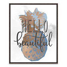 Hello Beautiful Pineapple Blue Framed Embellished Canvas