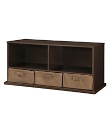 Stackable Shelf Storage Cubby With Three Baskets