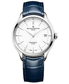 Baume & Mercier Men's Swiss Automatic Clifton Baumatic Blue Alligator Leather Strap Watch 40mm