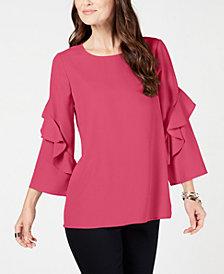 Alfani Petite Ruffled-Sleeve Zip-Back Top, Created for Macy's