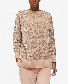 French Connection Patterned Sequin Crew-Neck Sweater