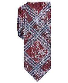 Penguin Men's Muliner Roses Skinny Floral Plaid Tie
