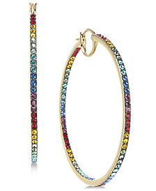 Danori Gold-Tone Multicolor Pavé Hoop Earrings, Created for Macy's
