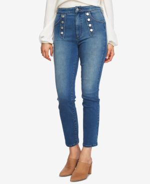 Image of 1.state Button Embellished Skinny Jeans