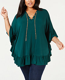 MICHAEL Michael Kors Plus Size Ruffled Lace-Up Top