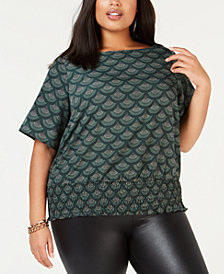 MICHAEL Michael Kors Plus Size Printed Smocked Top
