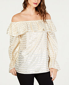 MICHAEL Michael Kors Metallic Off-The-Shoulder Flounce Top, in Regular and Petite Sizes