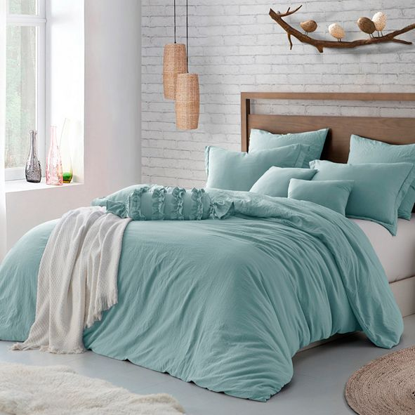 Cathay Home Inc. Microfiber Washed Crinkle Duvet Cover & Shams, Twin/Twin XL