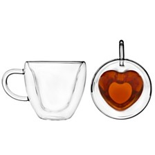 Godinger Set of 2 Double Wall Heart Mugs