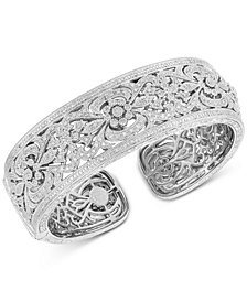 Diamond Filigree Cuff Bangle Bracelet (1/2 ct. t.w.) in Sterling Silver