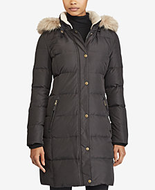Lauren Ralph Lauren Faux-Fur-Trim Quilted Down Coat, Created for Macy's