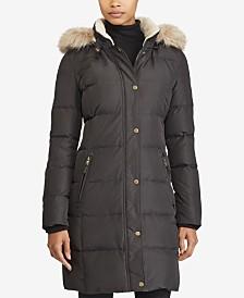 Lauren Ralph Lauren Faux-Fur-Trim Quilted Down Coat, Created for Macy's