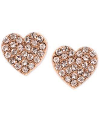 Gold-Tone Pavé Heart Stud Earrings, Created for Macy's