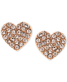 DKNY Rose Gold-Tone Pavé Heart Stud Earrings