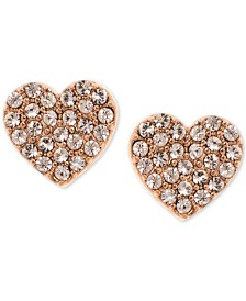 DKNY Gold-Tone Pavé Heart Stud Earrings, Created for Macy's