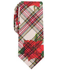 Bar III Men's Poinsettia Skinny Floral Tartan Tie, Created for Macy's