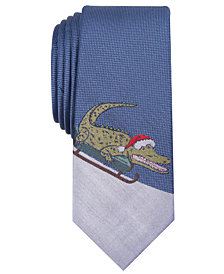 Bar III Men's Sledding Alligator Skinny Tie, Created for Macy's