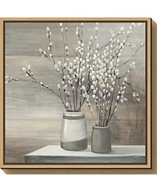 Amanti Art Pussi Willow Still Life Gray Pots by Julia Purinton Canvas Framed Art